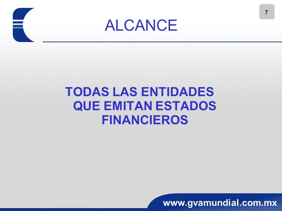 7 www.gvamundial.com.mx ALCANCE TODAS LAS ENTIDADES QUE EMITAN ESTADOS FINANCIEROS