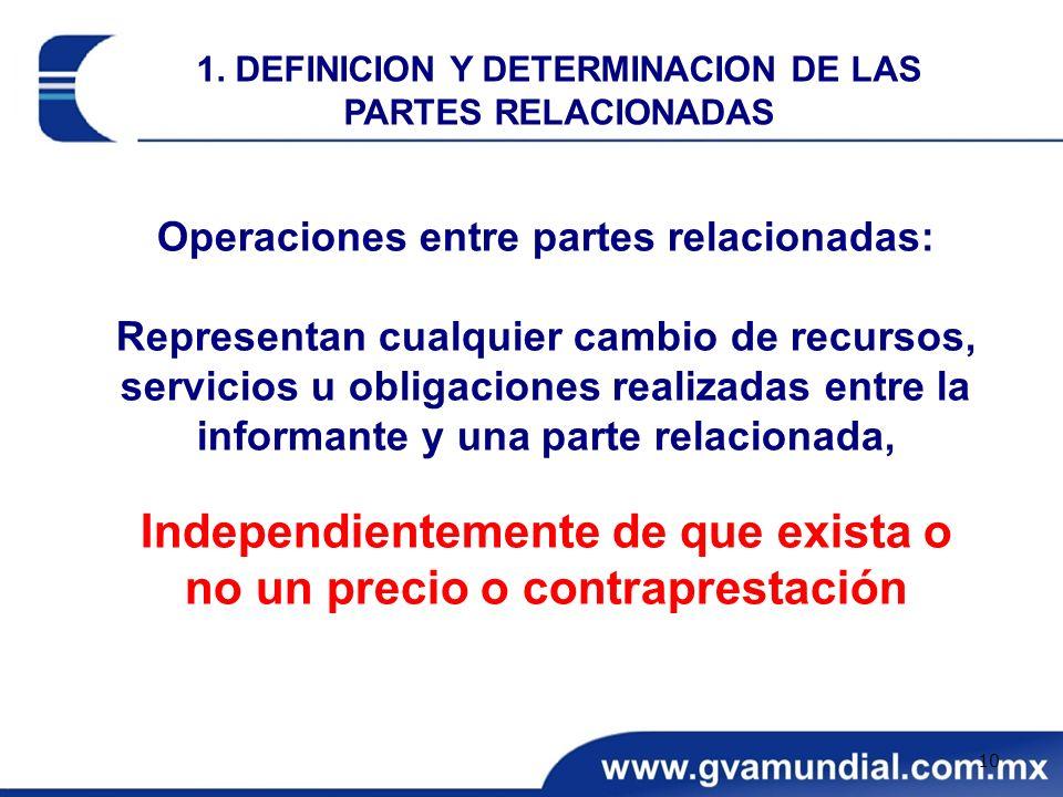 Operaciones entre partes relacionadas: Representan cualquier cambio de recursos, servicios u obligaciones realizadas entre la informante y una parte r
