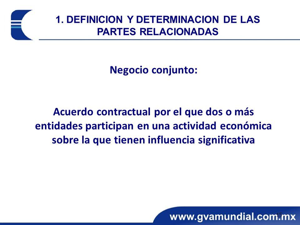 Negocio conjunto: Acuerdo contractual por el que dos o más entidades participan en una actividad económica sobre la que tienen influencia significativ