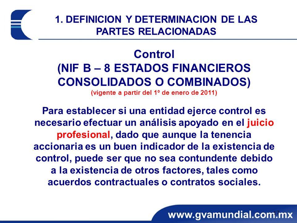 Control (NIF B – 8 ESTADOS FINANCIEROS CONSOLIDADOS O COMBINADOS) (vigente a partir del 1º de enero de 2011) Para establecer si una entidad ejerce con
