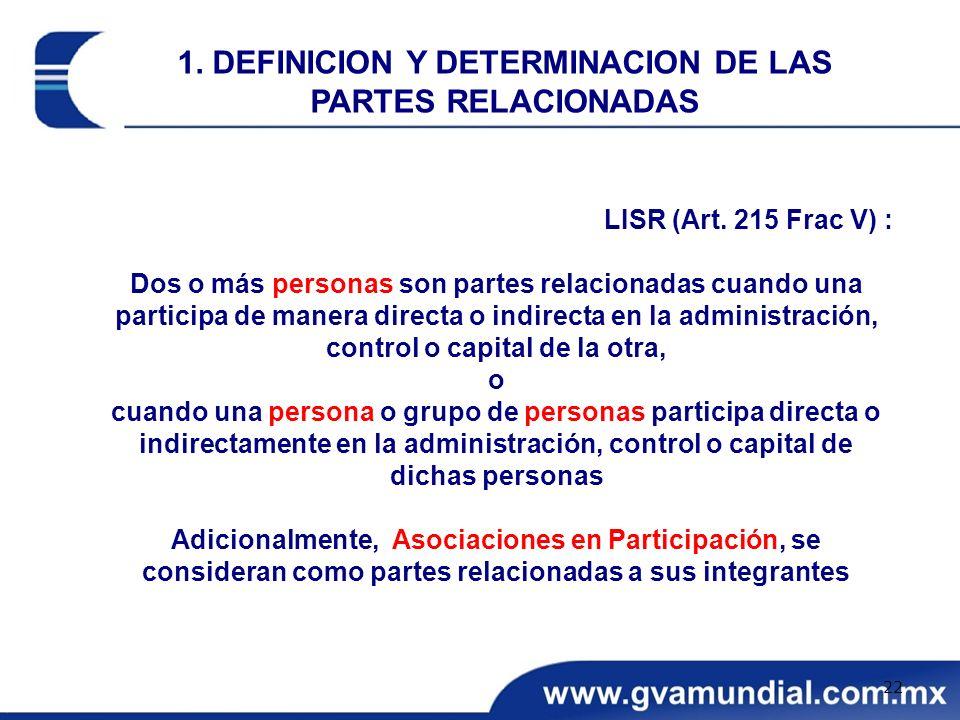 LISR (Art. 215 Frac V) : Dos o más personas son partes relacionadas cuando una participa de manera directa o indirecta en la administración, control o