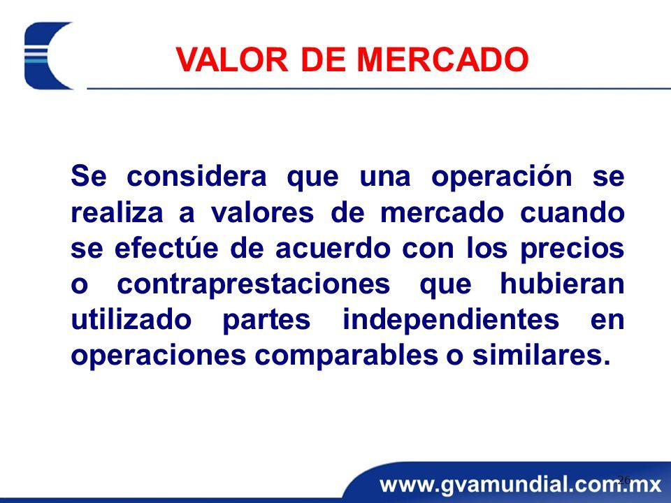 Se considera que una operación se realiza a valores de mercado cuando se efectúe de acuerdo con los precios o contraprestaciones que hubieran utilizad