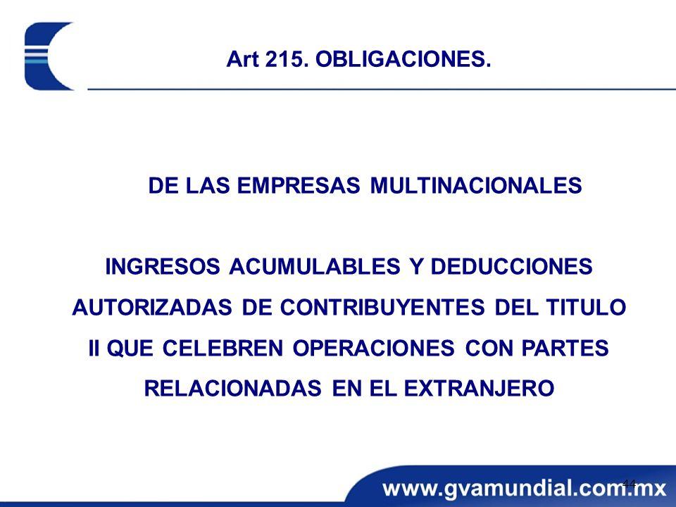 DE LAS EMPRESAS MULTINACIONALES INGRESOS ACUMULABLES Y DEDUCCIONES AUTORIZADAS DE CONTRIBUYENTES DEL TITULO II QUE CELEBREN OPERACIONES CON PARTES REL