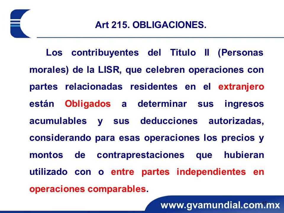 Los contribuyentes del Titulo II (Personas morales) de la LISR, que celebren operaciones con partes relacionadas residentes en el extranjero están Obl