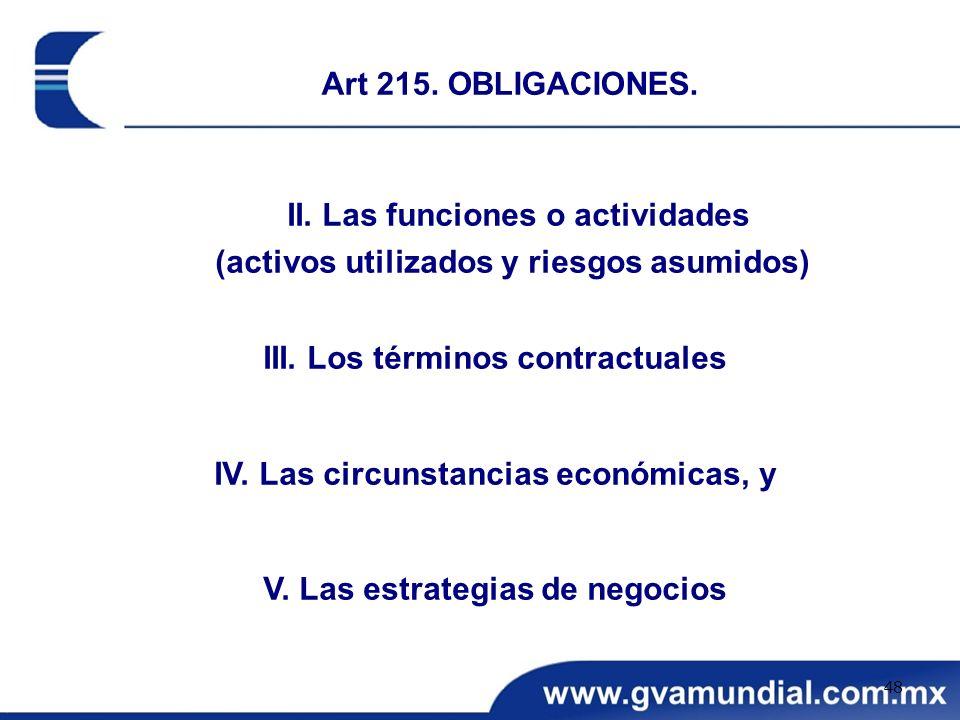II. Las funciones o actividades (activos utilizados y riesgos asumidos) III. Los términos contractuales IV. Las circunstancias económicas, y V. Las es