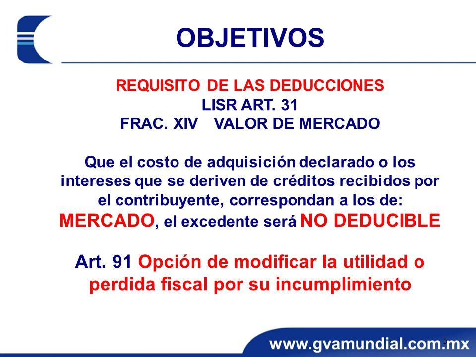 REQUISITO DE LAS DEDUCCIONES LISR ART. 31 FRAC. XIV VALOR DE MERCADO Que el costo de adquisición declarado o los intereses que se deriven de créditos