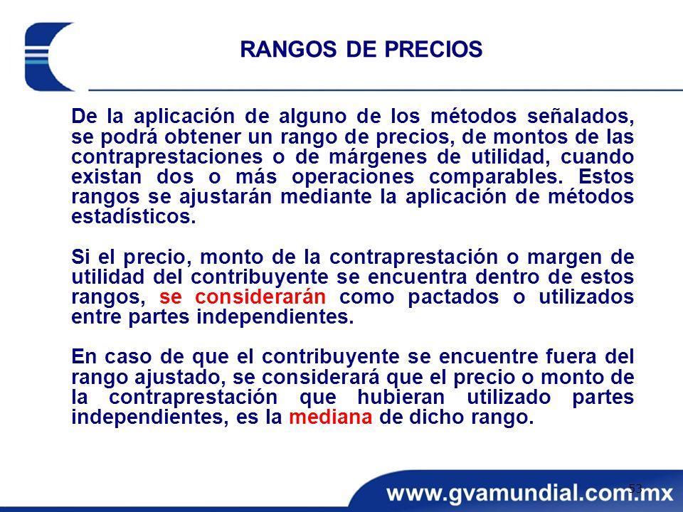 De la aplicación de alguno de los métodos señalados, se podrá obtener un rango de precios, de montos de las contraprestaciones o de márgenes de utilid