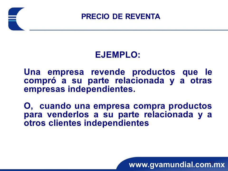 EJEMPLO: Una empresa revende productos que le compró a su parte relacionada y a otras empresas independientes. O, cuando una empresa compra productos