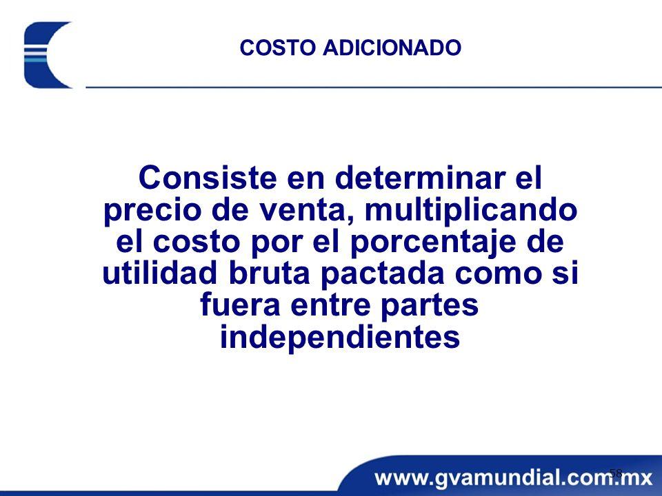Consiste en determinar el precio de venta, multiplicando el costo por el porcentaje de utilidad bruta pactada como si fuera entre partes independiente