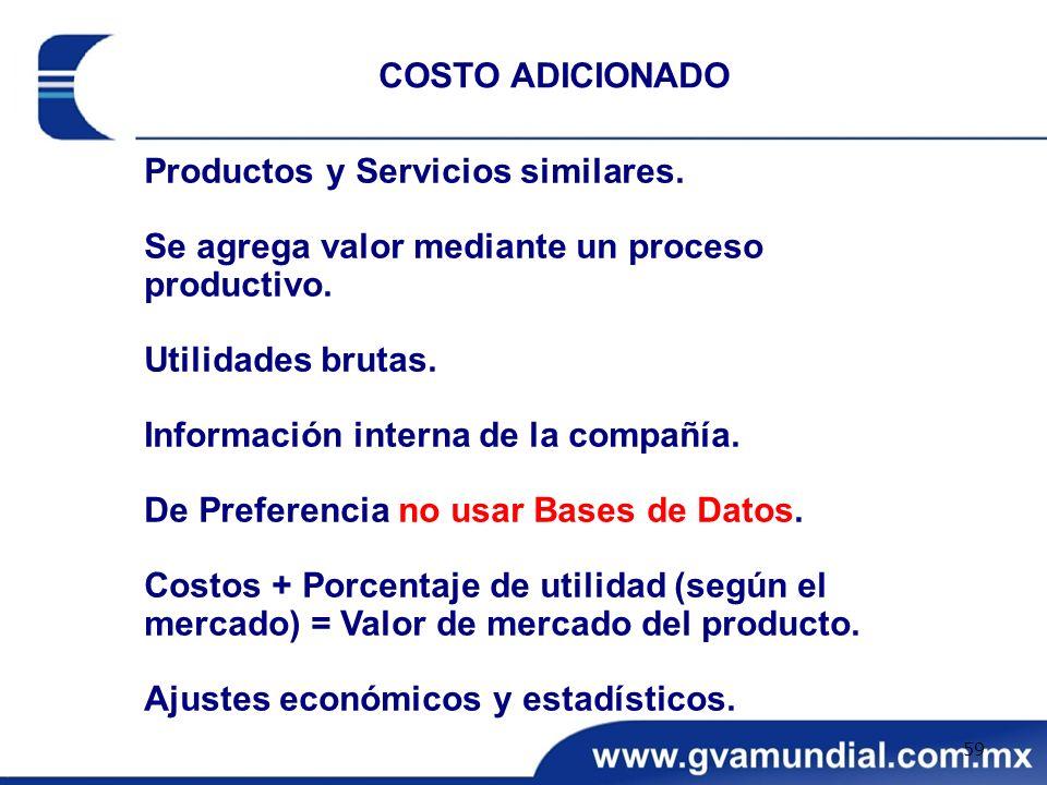 Productos y Servicios similares. Se agrega valor mediante un proceso productivo. Utilidades brutas. Información interna de la compañía. De Preferencia