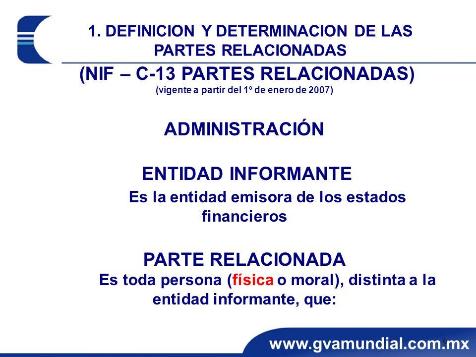 (NIF – C-13 PARTES RELACIONADAS) (vigente a partir del 1º de enero de 2007) ADMINISTRACIÓN ENTIDAD INFORMANTE Es la entidad emisora de los estados fin