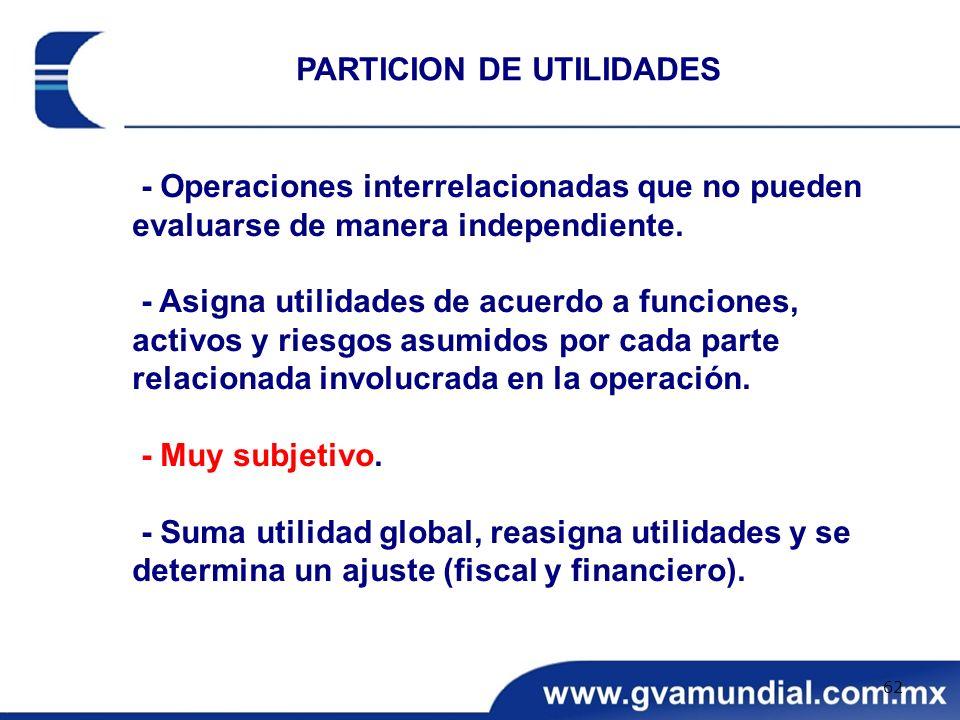 - Operaciones interrelacionadas que no pueden evaluarse de manera independiente. - Asigna utilidades de acuerdo a funciones, activos y riesgos asumido