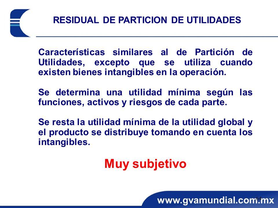 Características similares al de Partición de Utilidades, excepto que se utiliza cuando existen bienes intangibles en la operación. Se determina una ut