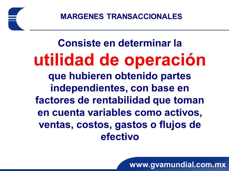 Consiste en determinar la utilidad de operación que hubieren obtenido partes independientes, con base en factores de rentabilidad que toman en cuenta