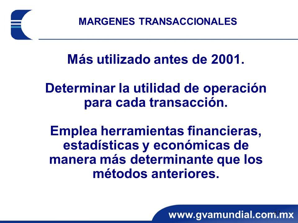 Más utilizado antes de 2001. Determinar la utilidad de operación para cada transacción. Emplea herramientas financieras, estadísticas y económicas de