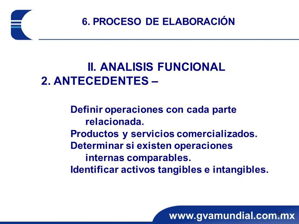 II. ANALISIS FUNCIONAL 2. ANTECEDENTES – Definir operaciones con cada parte relacionada. Productos y servicios comercializados. Determinar si existen