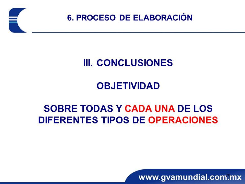 III. CONCLUSIONES OBJETIVIDAD SOBRE TODAS Y CADA UNA DE LOS DIFERENTES TIPOS DE OPERACIONES 6. PROCESO DE ELABORACIÓN 79