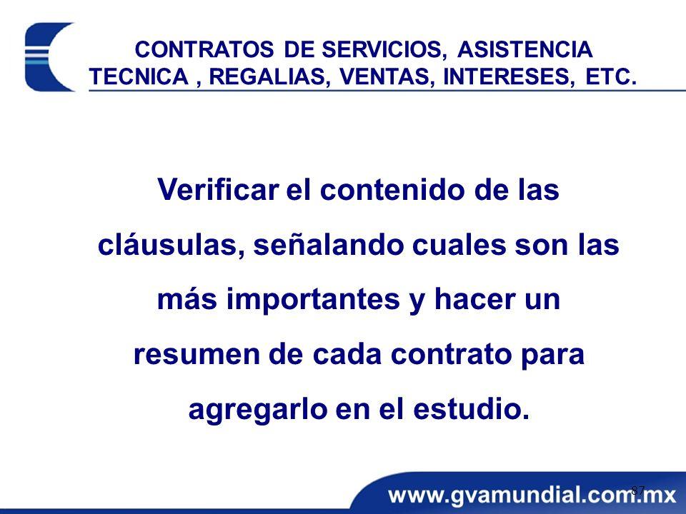 Verificar el contenido de las cláusulas, señalando cuales son las más importantes y hacer un resumen de cada contrato para agregarlo en el estudio. CO