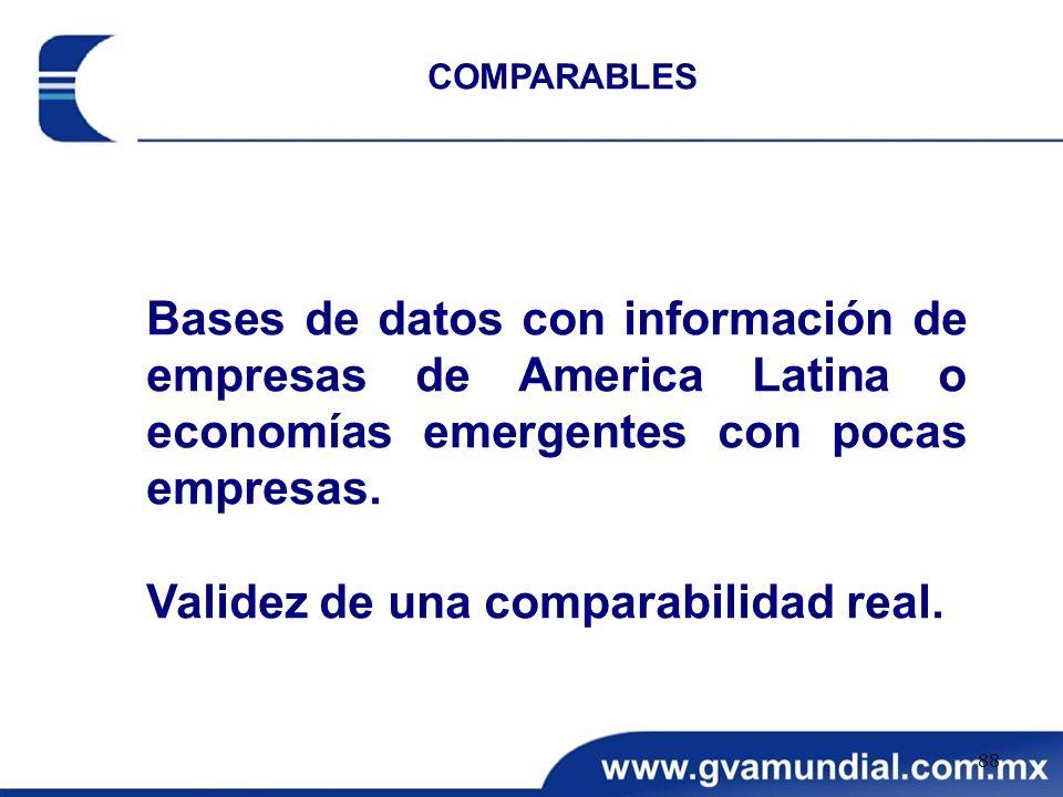 Bases de datos con información de empresas de America Latina o economías emergentes con pocas empresas. Validez de una comparabilidad real. COMPARABLE