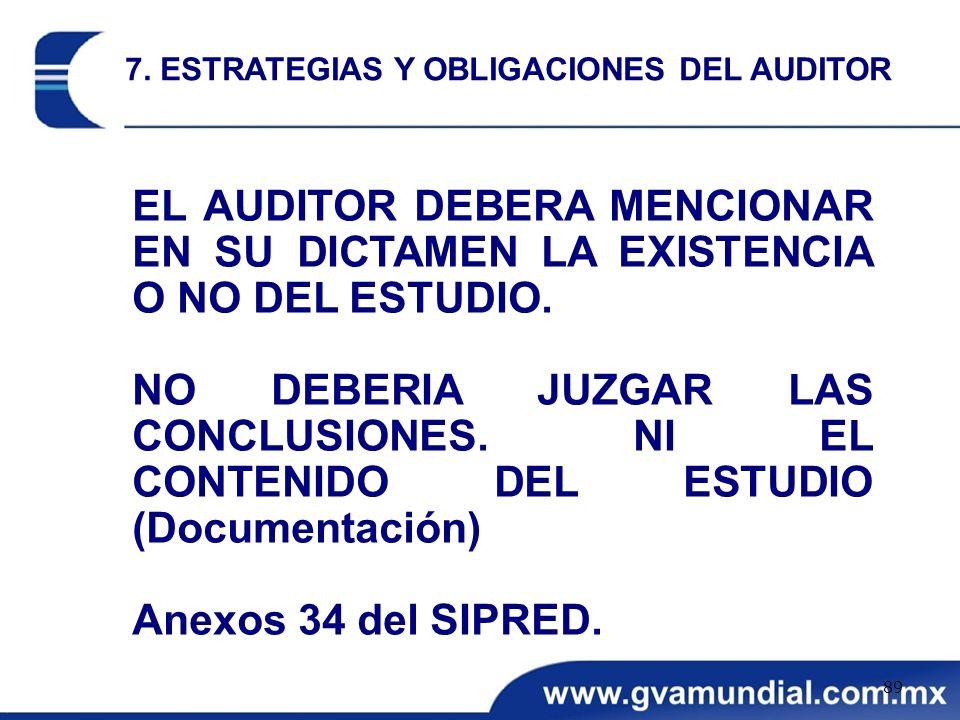 EL AUDITOR DEBERA MENCIONAR EN SU DICTAMEN LA EXISTENCIA O NO DEL ESTUDIO. NO DEBERIA JUZGAR LAS CONCLUSIONES. NI EL CONTENIDO DEL ESTUDIO (Documentac