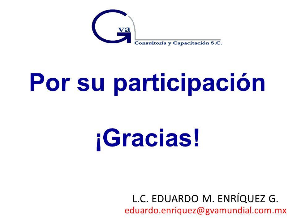 Por su participación ¡Gracias! L.C. EDUARDO M. ENRÍQUEZ G. eduardo.enriquez@gvamundial.com.mx