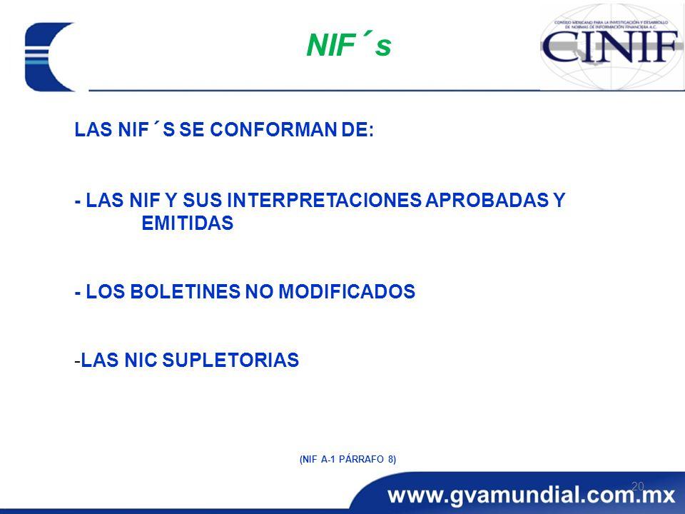 20 NIF´s LAS NIF´S SE CONFORMAN DE: - LAS NIF Y SUS INTERPRETACIONES APROBADAS Y EMITIDAS - LOS BOLETINES NO MODIFICADOS -LAS NIC SUPLETORIAS (NIF A-1