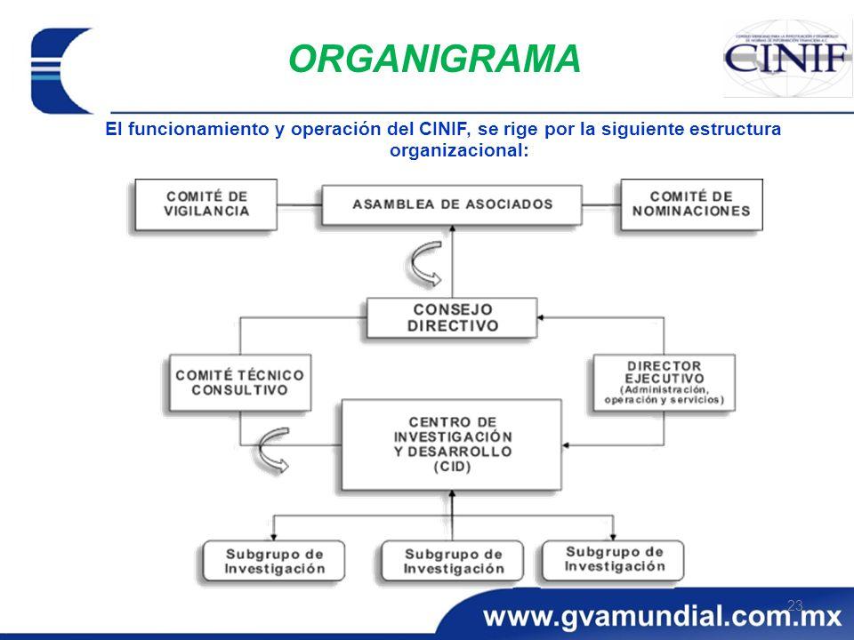 23 ORGANIGRAMA El funcionamiento y operación del CINIF, se rige por la siguiente estructura organizacional: