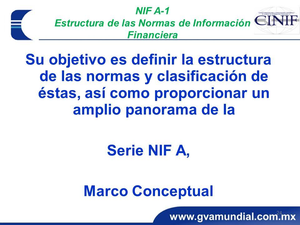 24 NIF A-1 Estructura de las Normas de Información Financiera Su objetivo es definir la estructura de las normas y clasificación de éstas, así como pr