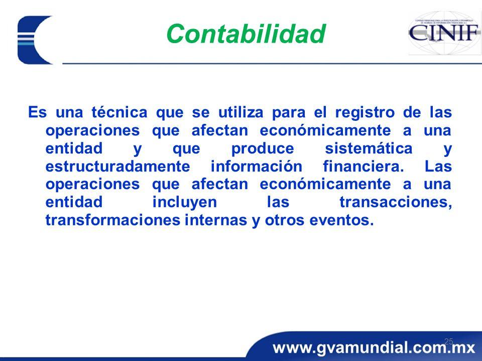 25 Contabilidad Es una técnica que se utiliza para el registro de las operaciones que afectan económicamente a una entidad y que produce sistemática y