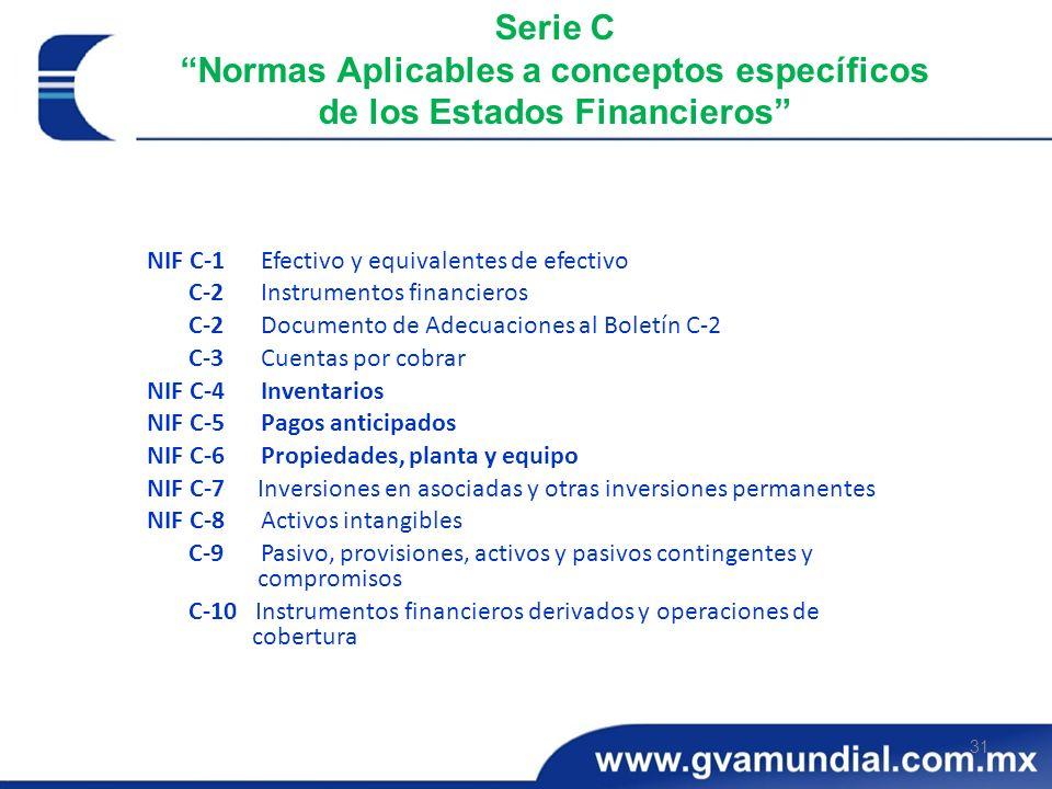 31 Serie C Normas Aplicables a conceptos específicos de los Estados Financieros NIF C-1 Efectivo y equivalentes de efectivo C-2 Instrumentos financier