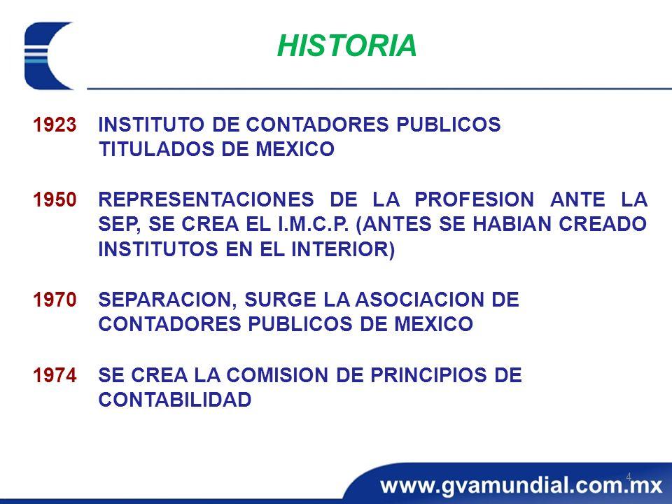 1923INSTITUTO DE CONTADORES PUBLICOS TITULADOS DE MEXICO 1950REPRESENTACIONES DE LA PROFESION ANTE LA SEP, SE CREA EL I.M.C.P. (ANTES SE HABIAN CREADO
