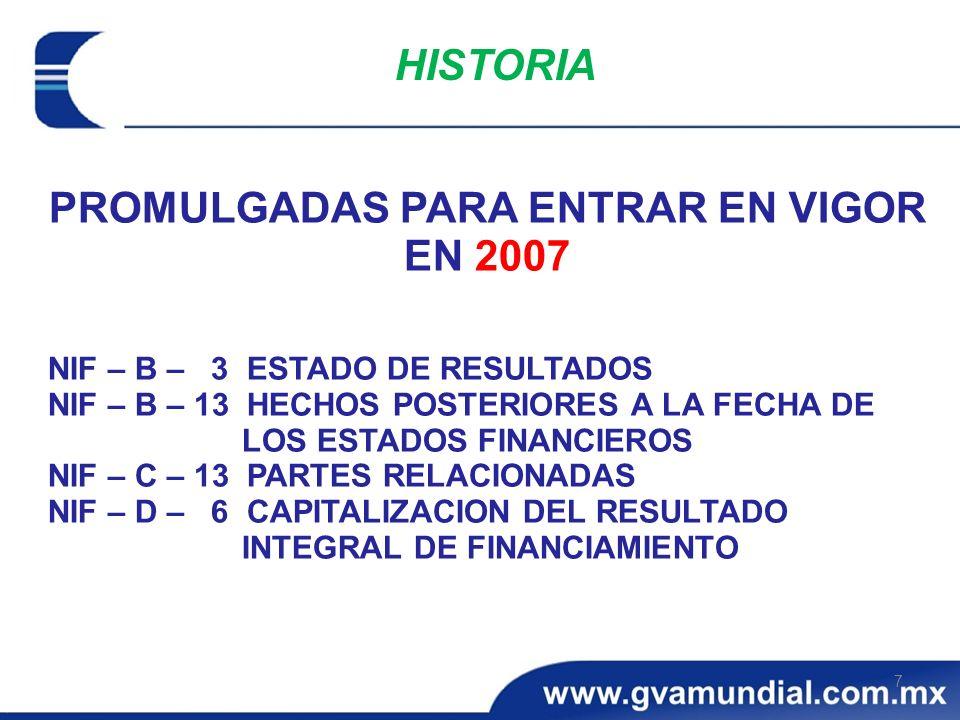 PROMULGADAS PARA ENTRAR EN VIGOR EN 2007 NIF – B – 3 ESTADO DE RESULTADOS NIF – B – 13 HECHOS POSTERIORES A LA FECHA DE LOS ESTADOS FINANCIEROS NIF –