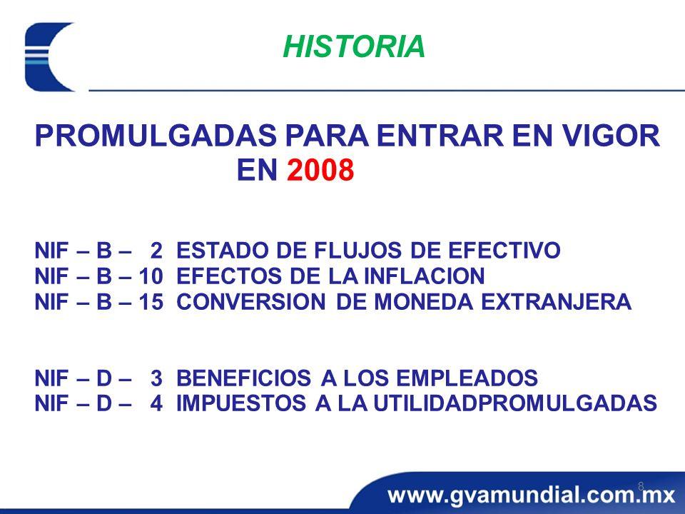 PROMULGADAS PARA ENTRAR EN VIGOR EN 2008 NIF – B – 2 ESTADO DE FLUJOS DE EFECTIVO NIF – B – 10 EFECTOS DE LA INFLACION NIF – B – 15 CONVERSION DE MONE