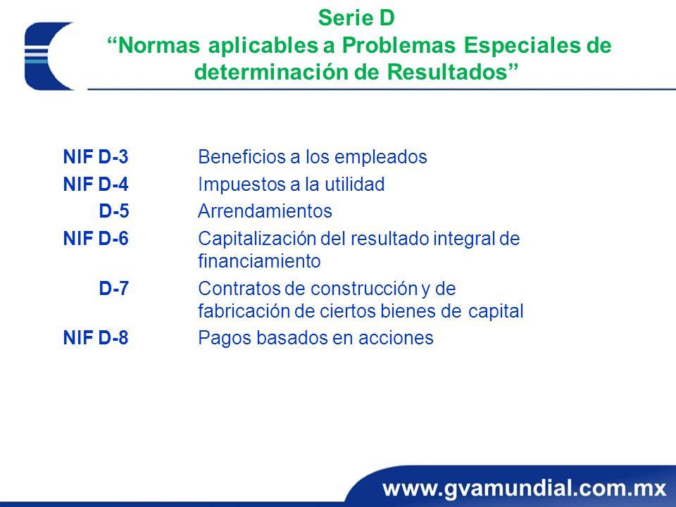 Serie D Normas aplicables a Problemas Especiales de determinación de Resultados NIF D-3 Beneficios a los empleados NIF D-4 Impuestos a la utilidad D-5