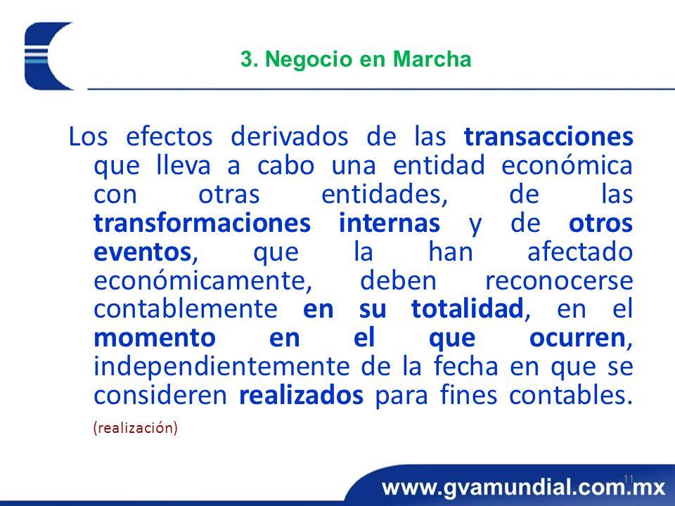 11 3. Negocio en Marcha Los efectos derivados de las transacciones que lleva a cabo una entidad económica con otras entidades, de las transformaciones