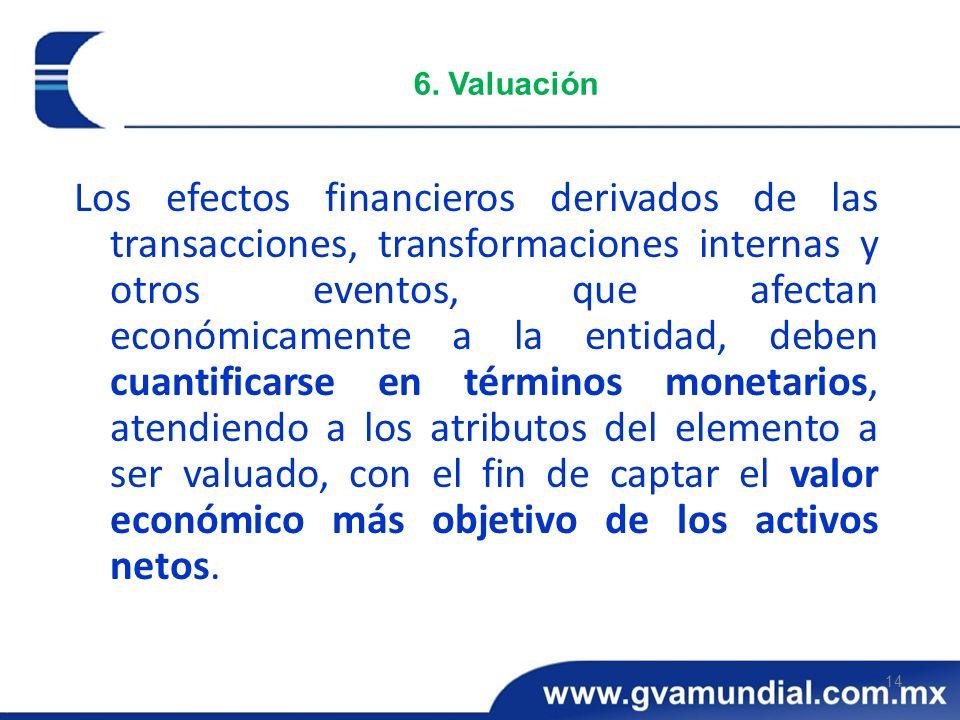 14 6. Valuación Los efectos financieros derivados de las transacciones, transformaciones internas y otros eventos, que afectan económicamente a la ent