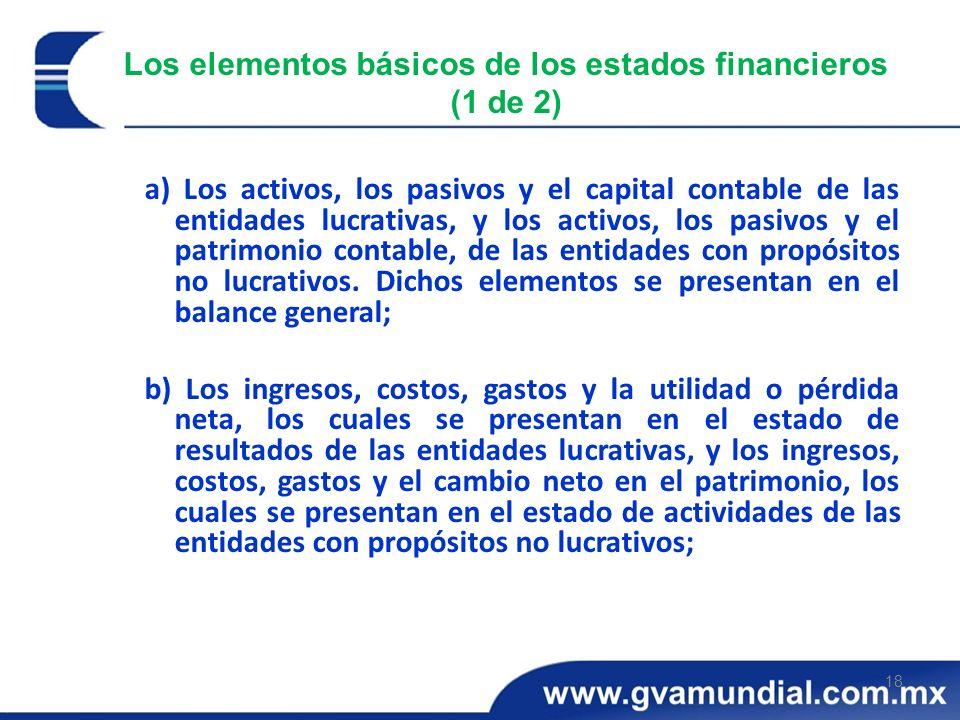 18 Los elementos básicos de los estados financieros (1 de 2) a) Los activos, los pasivos y el capital contable de las entidades lucrativas, y los acti