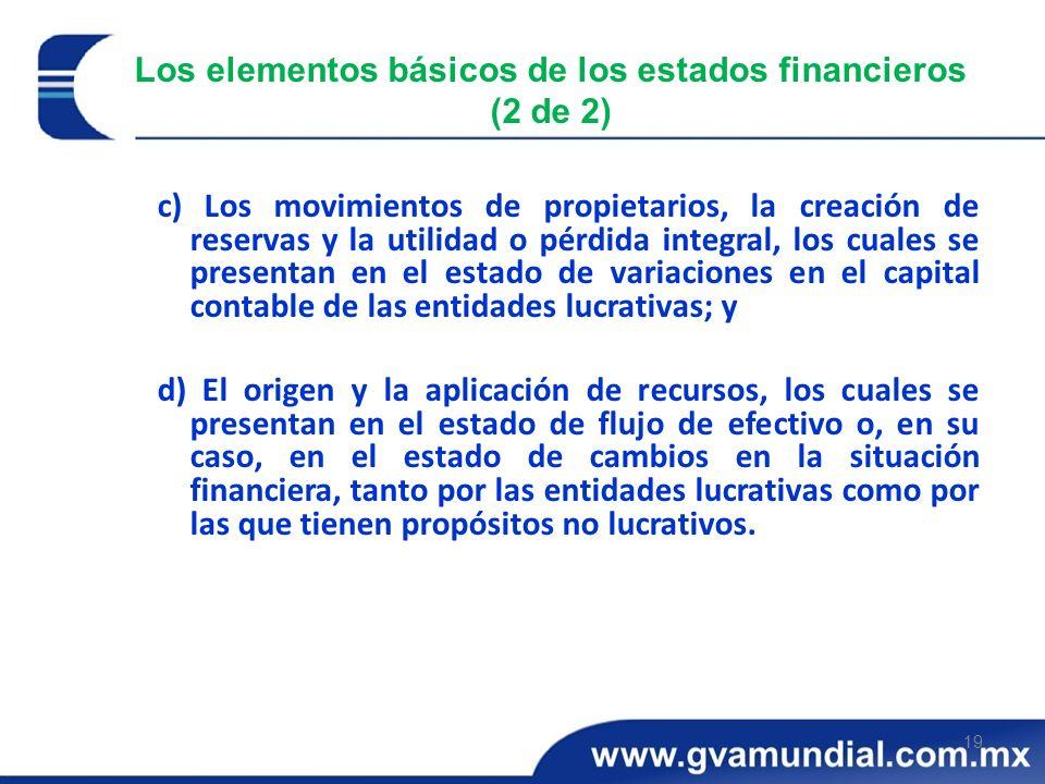 19 Los elementos básicos de los estados financieros (2 de 2) c) Los movimientos de propietarios, la creación de reservas y la utilidad o pérdida integ