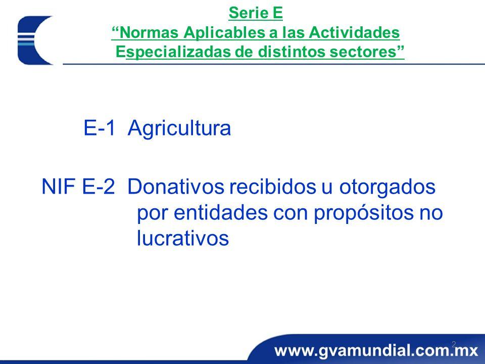 2 Serie E Normas Aplicables a las Actividades Especializadas de distintos sectores E-1 Agricultura NIF E-2 Donativos recibidos u otorgados por entidad