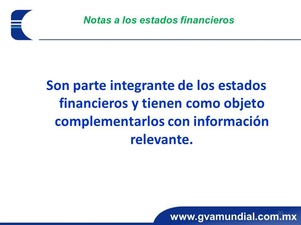 20 Notas a los estados financieros Son parte integrante de los estados financieros y tienen como objeto complementarlos con información relevante.