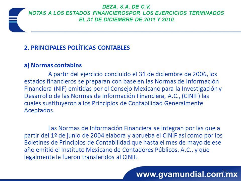 28 DEZA, S.A. DE C.V. NOTAS A LOS ESTADOS FINANCIEROSPOR LOS EJERCICIOS TERMINADOS EL 31 DE DICIEMBRE DE 2011 Y 2010 2. PRINCIPALES POLÍTICAS CONTABLE