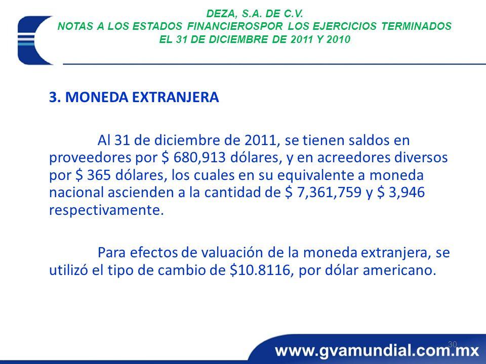 30 DEZA, S.A. DE C.V. NOTAS A LOS ESTADOS FINANCIEROSPOR LOS EJERCICIOS TERMINADOS EL 31 DE DICIEMBRE DE 2011 Y 2010 3. MONEDA EXTRANJERA Al 31 de dic