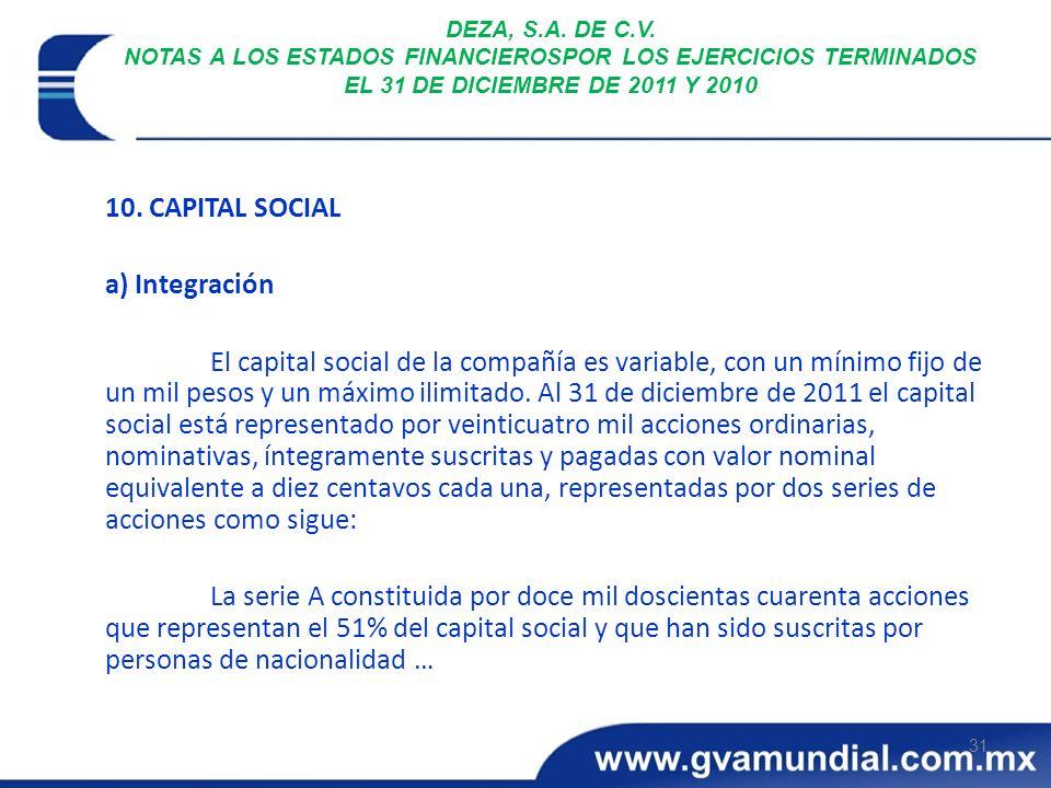 31 DEZA, S.A. DE C.V. NOTAS A LOS ESTADOS FINANCIEROSPOR LOS EJERCICIOS TERMINADOS EL 31 DE DICIEMBRE DE 2011 Y 2010 10. CAPITAL SOCIAL a) Integración