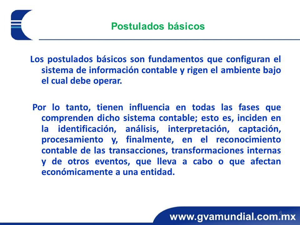 6 Postulados básicos Los postulados básicos son fundamentos que configuran el sistema de información contable y rigen el ambiente bajo el cual debe op