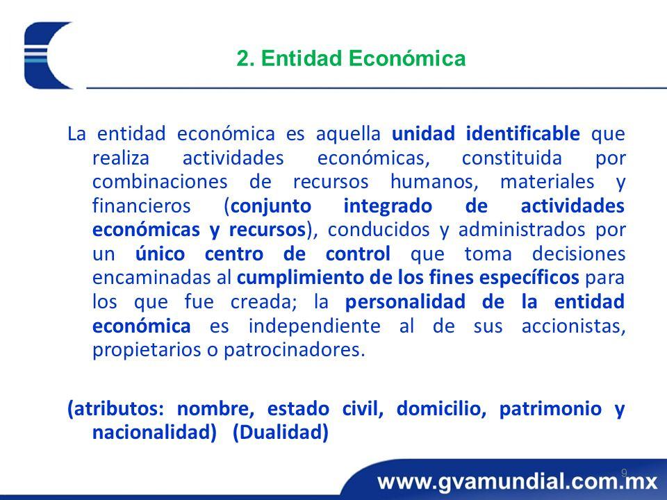 9 2. Entidad Económica La entidad económica es aquella unidad identificable que realiza actividades económicas, constituida por combinaciones de recur