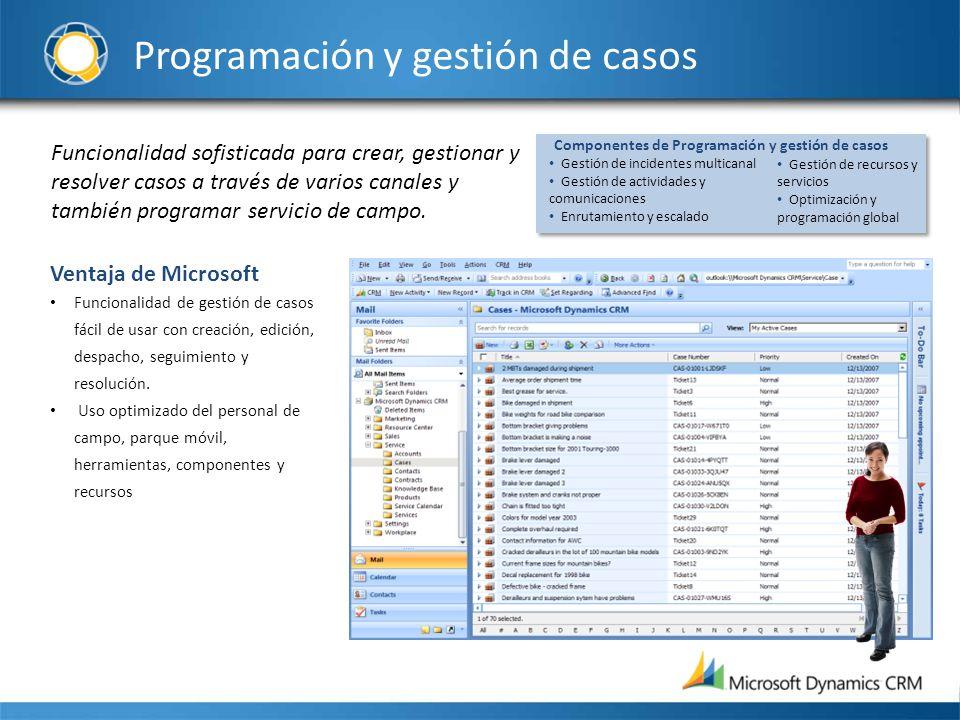 Programación y gestión de casos Funcionalidad sofisticada para crear, gestionar y resolver casos a través de varios canales y también programar servic