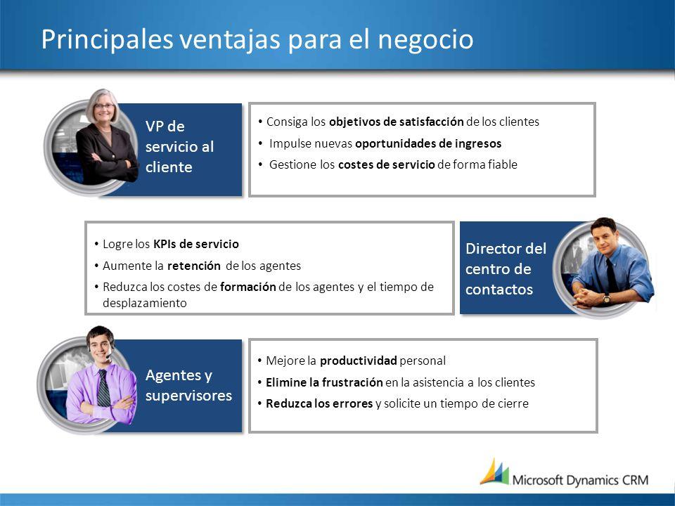 Principales ventajas para el negocio Consiga los objetivos de satisfacción de los clientes Impulse nuevas oportunidades de ingresos Gestione los coste