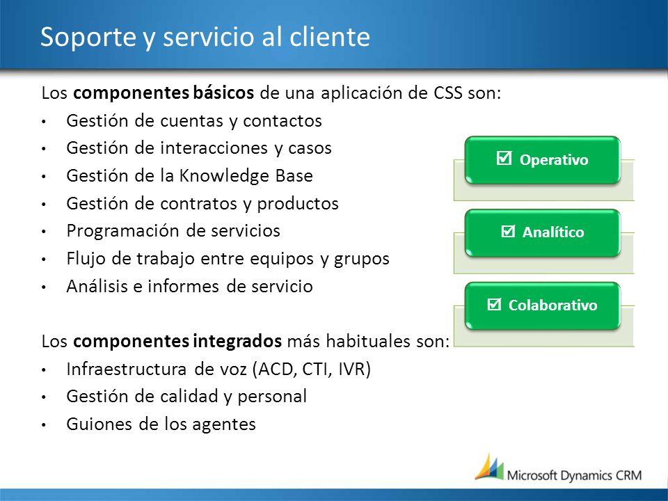 Soporte y servicio al cliente Los componentes básicos de una aplicación de CSS son: Gestión de cuentas y contactos Gestión de interacciones y casos Ge