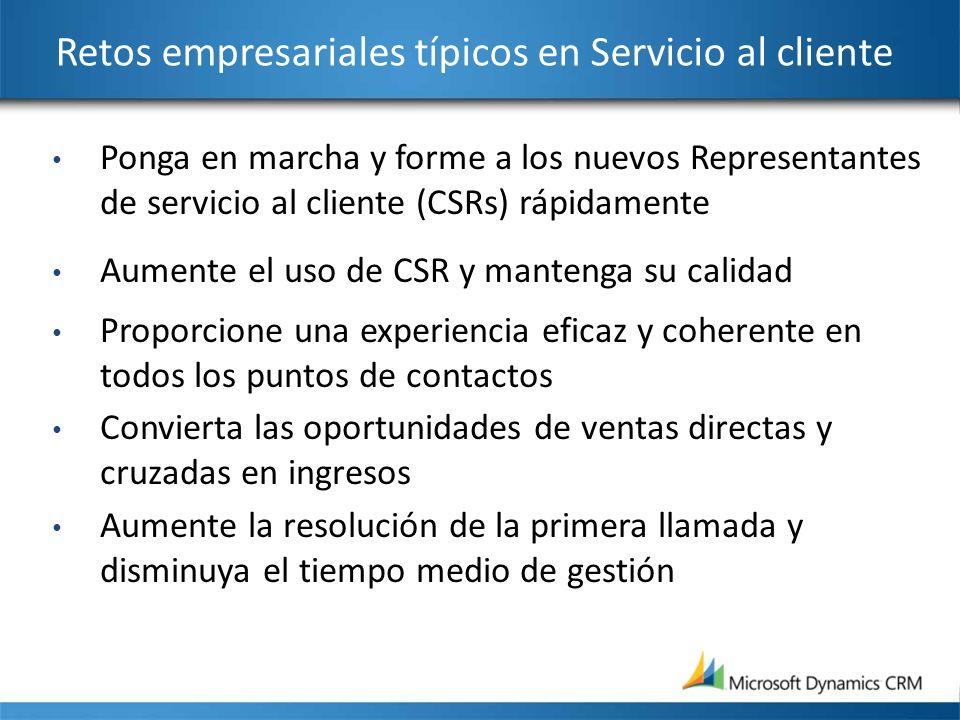 Retos empresariales típicos en Servicio al cliente Ponga en marcha y forme a los nuevos Representantes de servicio al cliente (CSRs) rápidamente Aumen