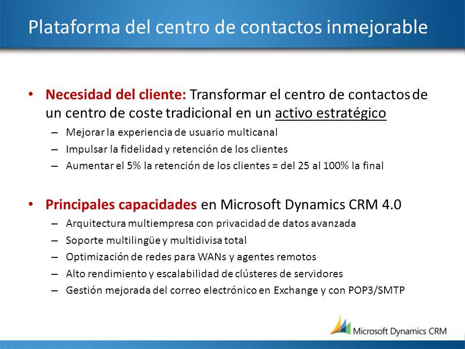 Plataforma del centro de contactos inmejorable Necesidad del cliente: Transformar el centro de contactos de un centro de coste tradicional en un activ